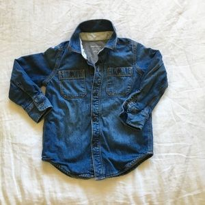 Kids' lined chambray button up